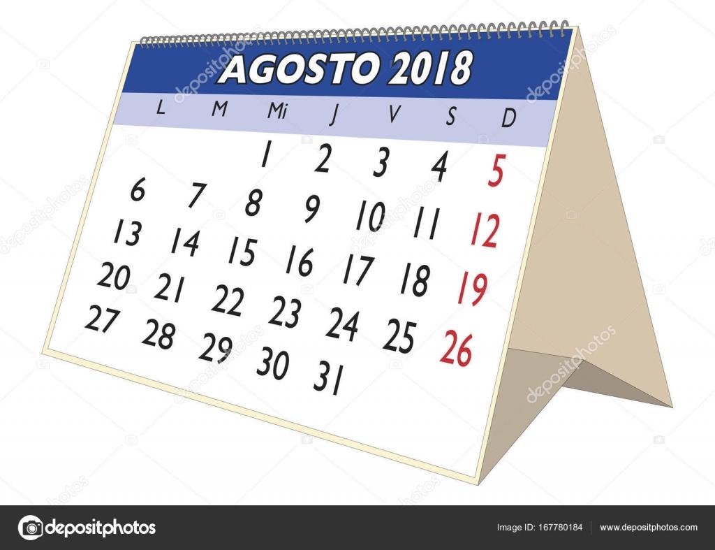 Calendario de escritorio agosto de 2018 en espa olas de for Clipart calendario