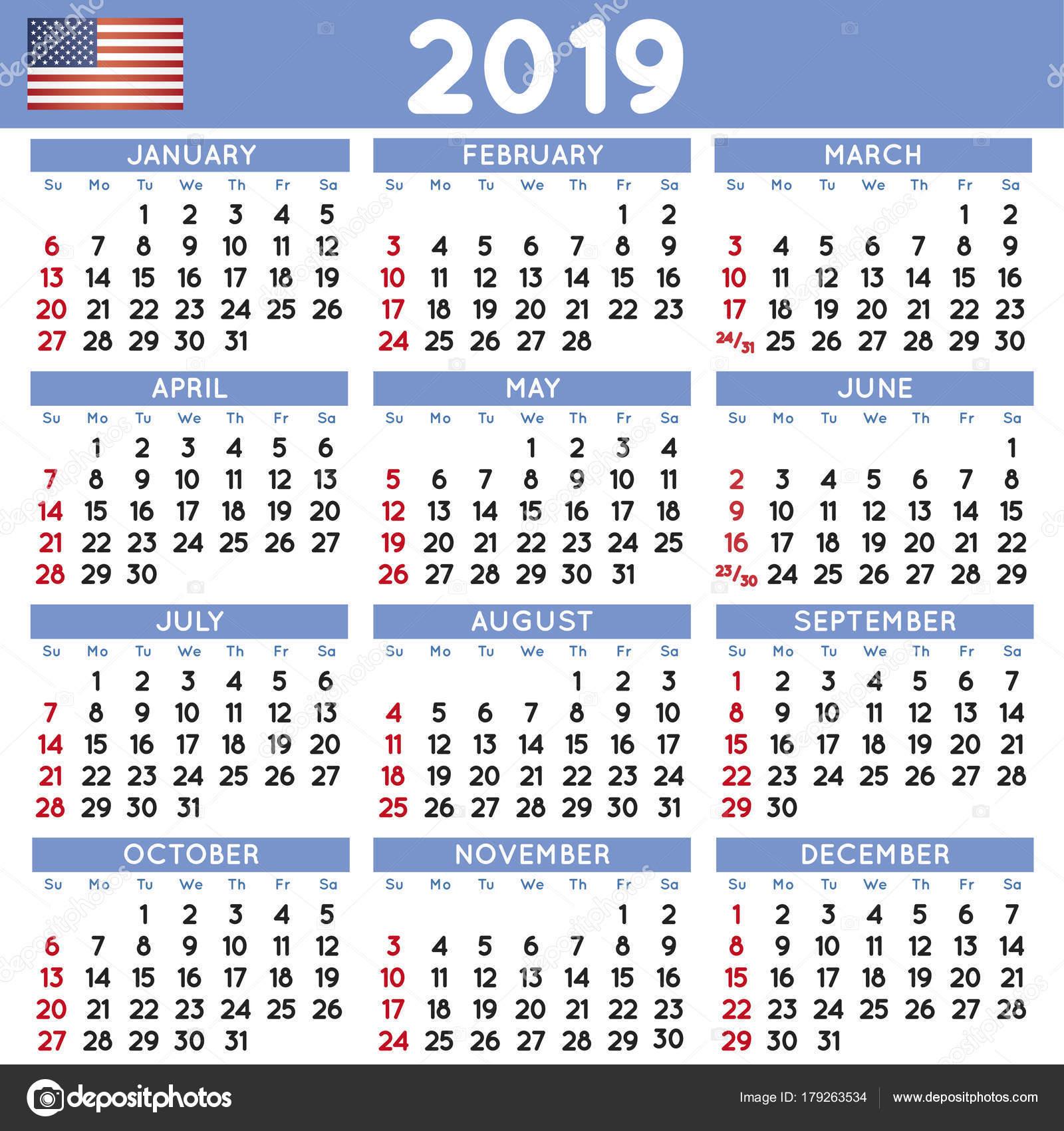 Calendario 2019 Estados Unidos