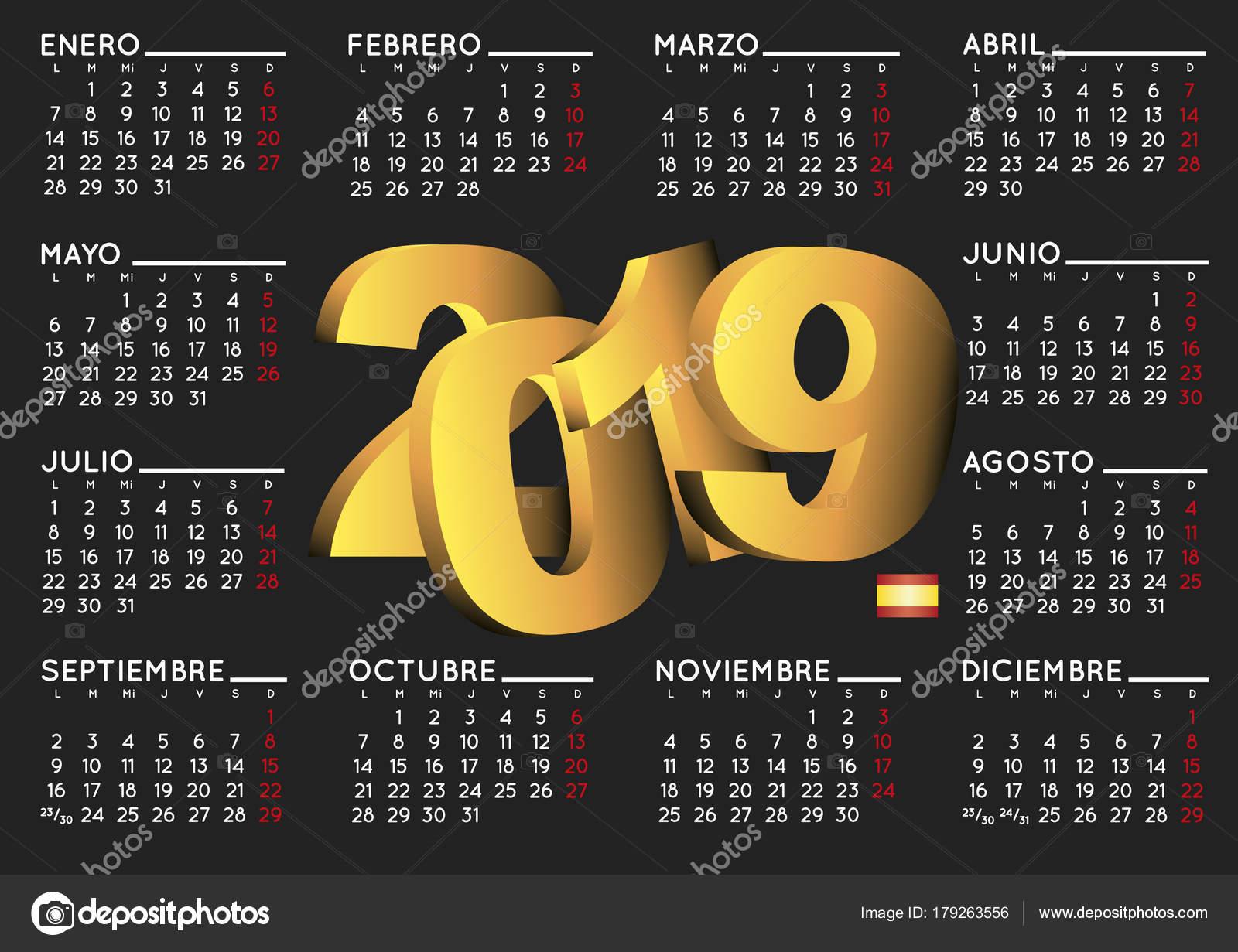 Calendario In Spagnolo.2019 Calendario In Nero Orizzontale Spagnolo Vettoriali