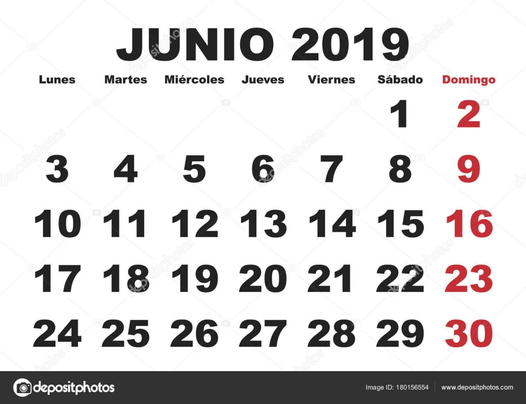 Junio 2019 Pared Calendario Espanol Archivo Imagenes Vectoriales