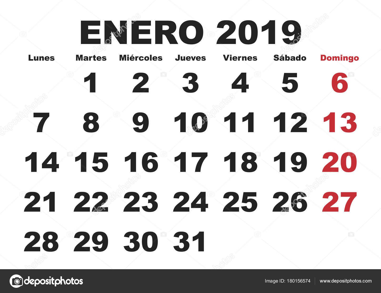 Calendario 2020 Chile Vector.Enero 2019 Wall Calendar Spanish Stock Vector