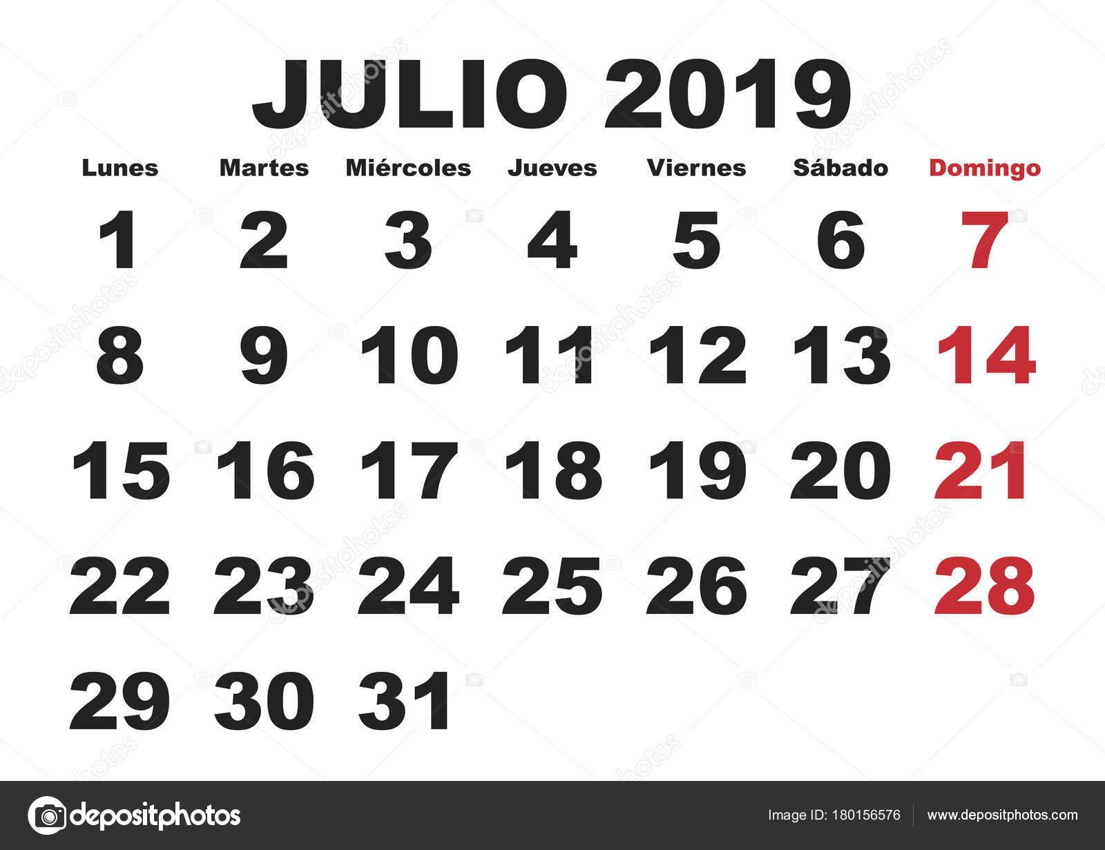 Julio Calendario.Calendario De Pared De 2019 De Julio Espanol Vector De Stock