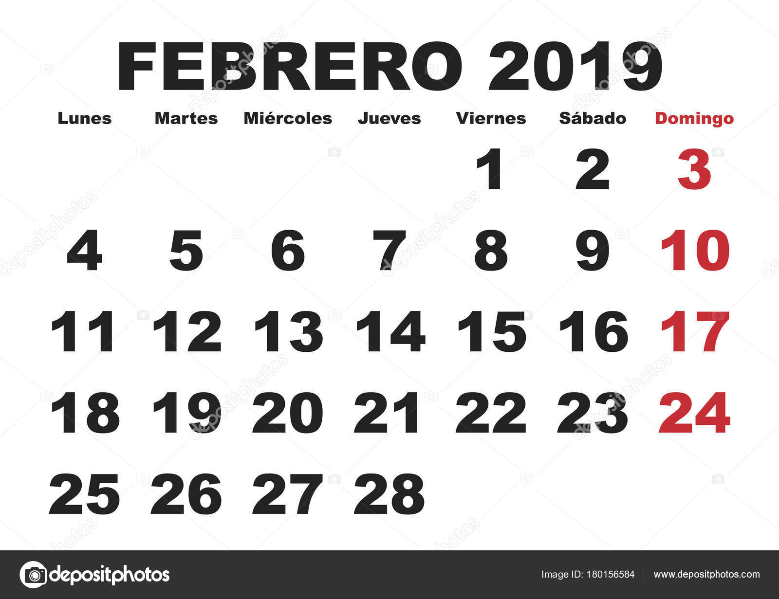 Calendario 2019 Mes A Mes.Febrero 2019 Pared Calendario Espanol Archivo Imagenes Vectoriales