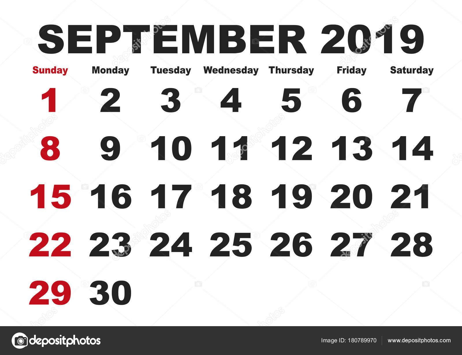 2019 havi naptár Szeptember havi naptár 2019 angol nyelvváltozatban — Stock Vektor  2019 havi naptár