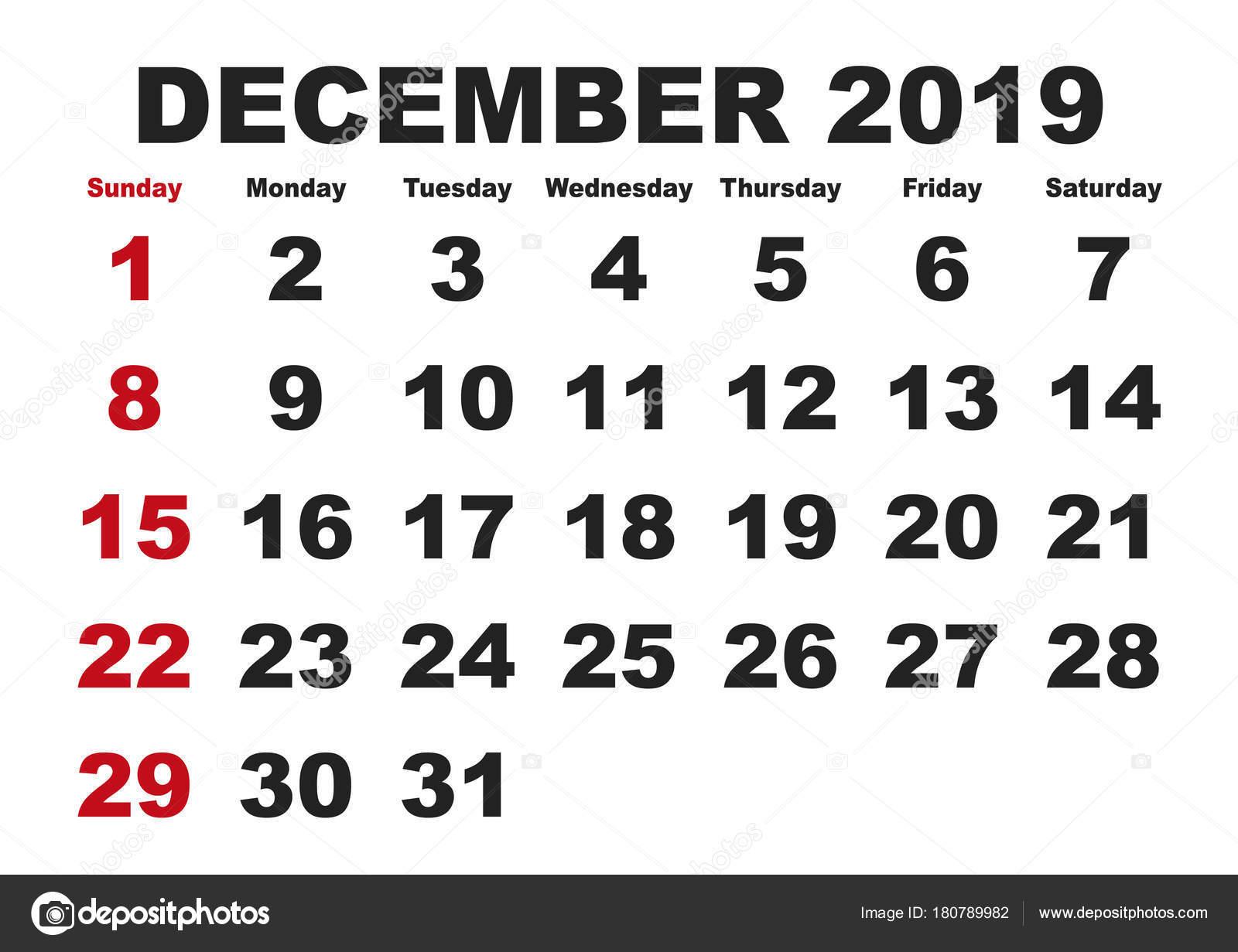 2019 decemberi naptár December havi naptár 2019 angol nyelvváltozatban — Stock Vektor  2019 decemberi naptár