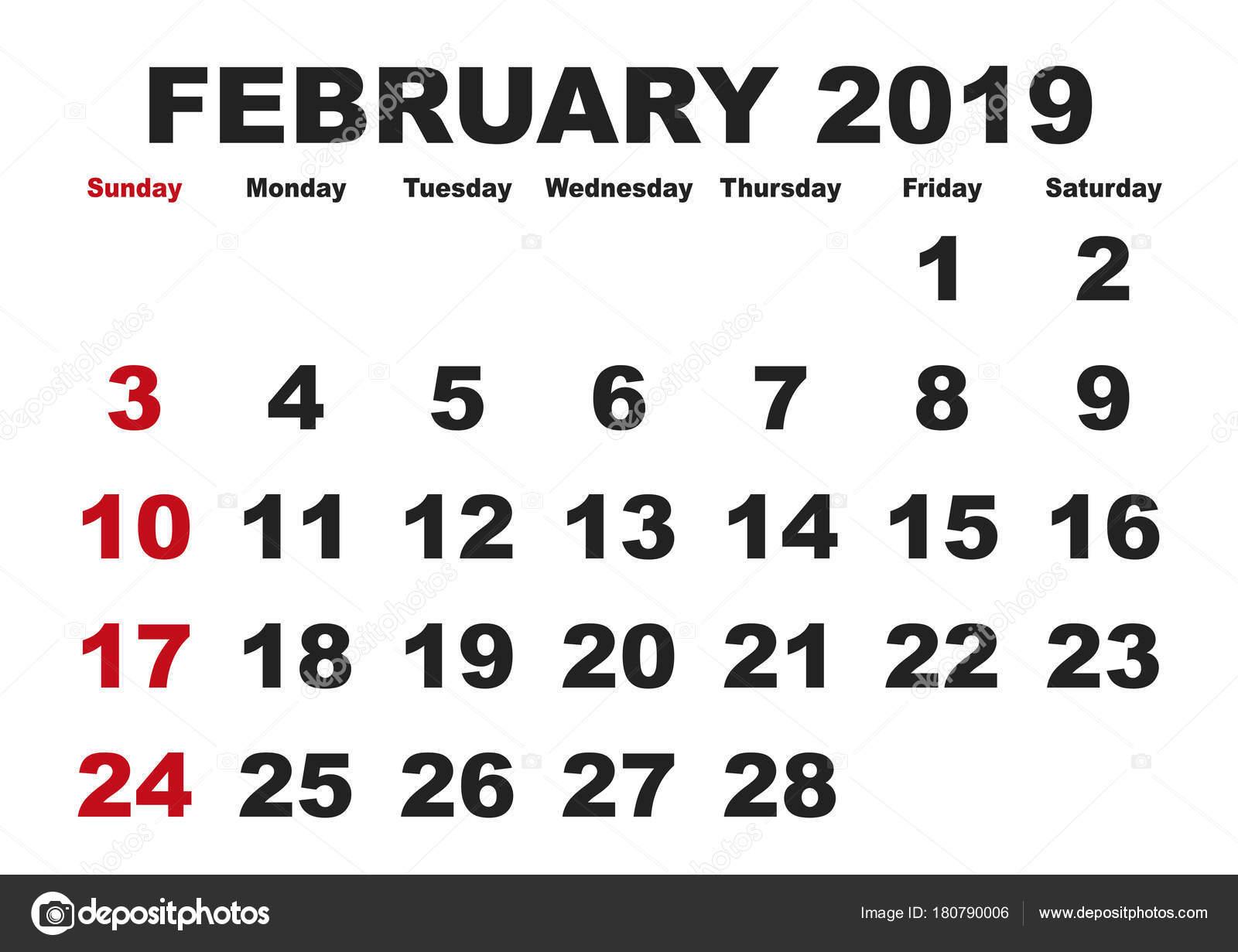 2019 naptár február Február havi naptár 2019 angol nyelvváltozatban — Stock Vektor  2019 naptár február