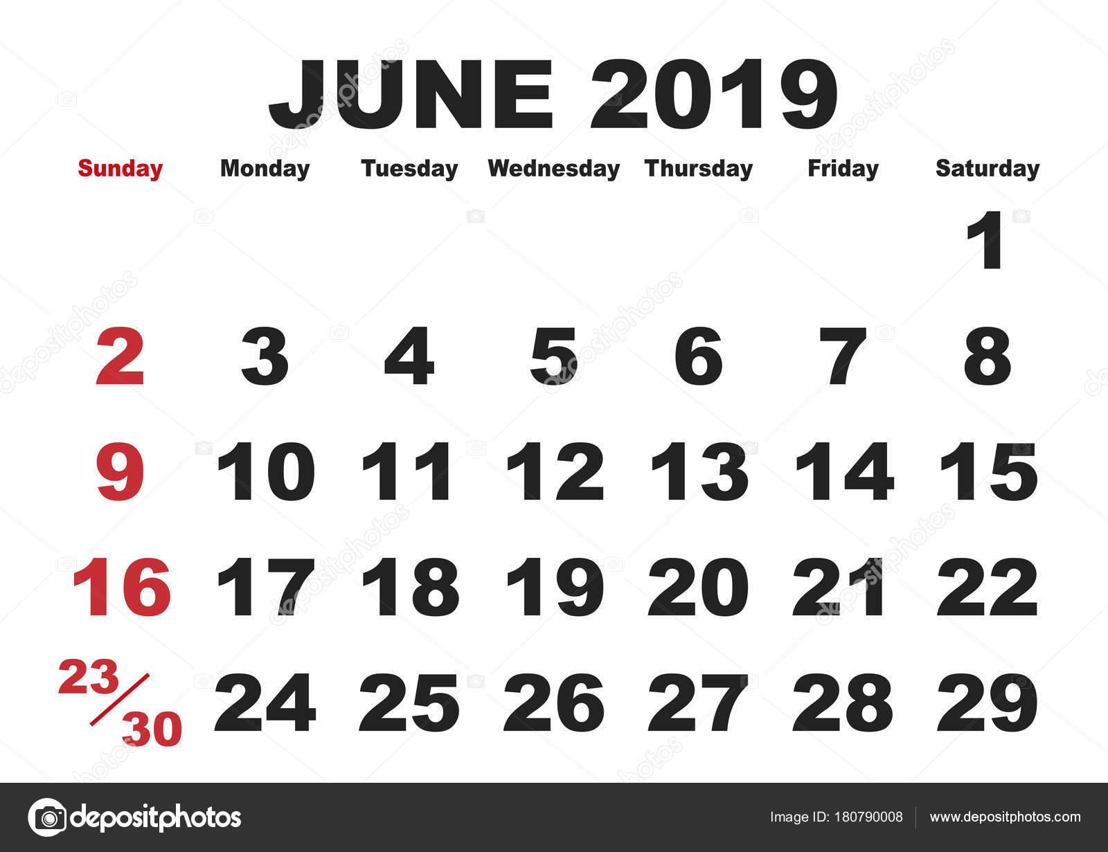 naptár 2019 június Június havi naptár 2019 angol nyelvváltozatban — Stock Vektor  naptár 2019 június
