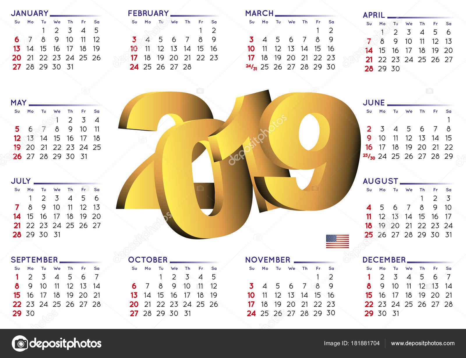 ünnepnapok 2019 naptár 2019 naptár angol vízszintes Usa — Stock Vektor © alfonsodetomas  ünnepnapok 2019 naptár
