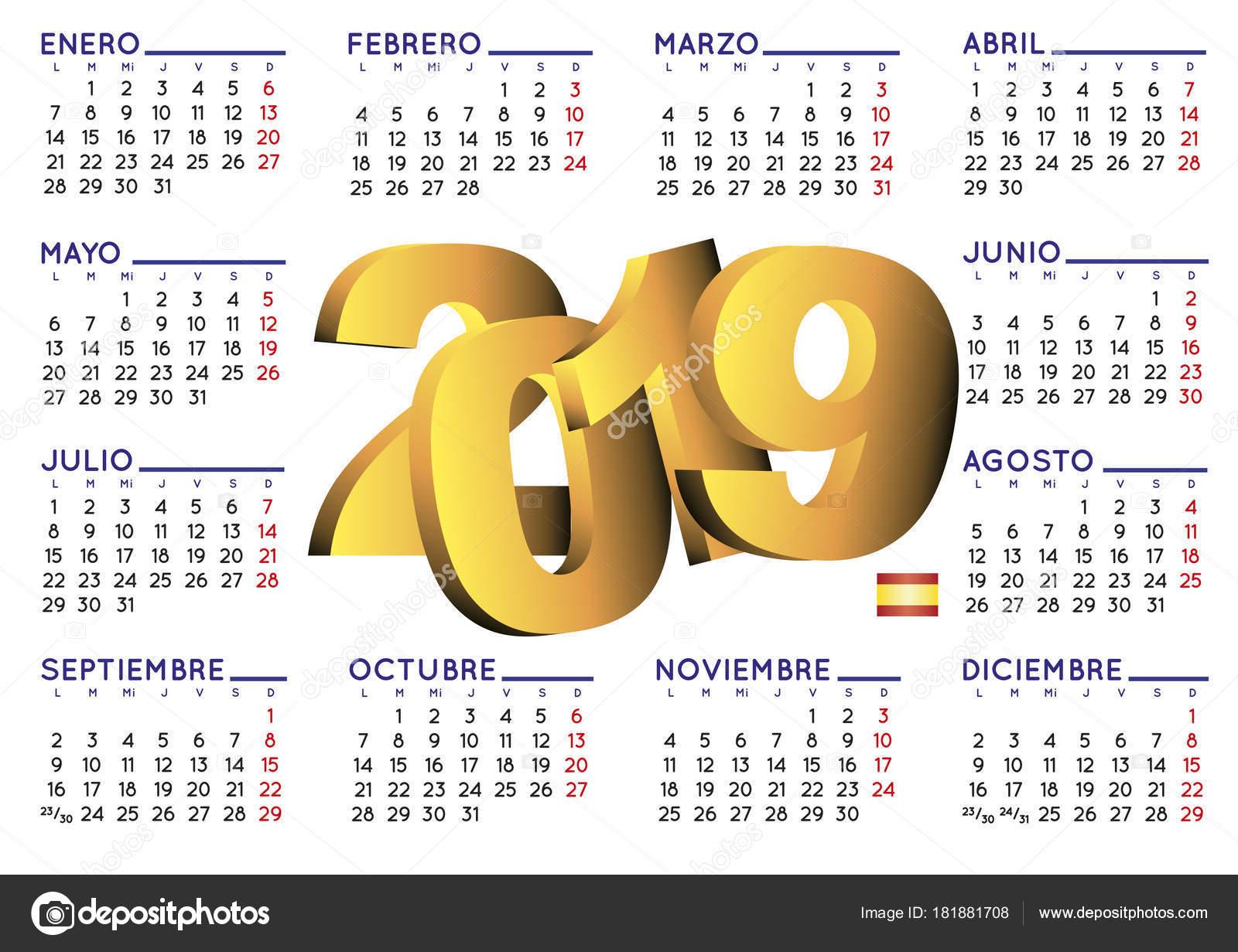 Calendario 2019 En Espa 241 Ol Horizontal Vector De Stock
