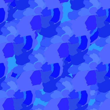 Blue abstract elements scattered over a  pattern