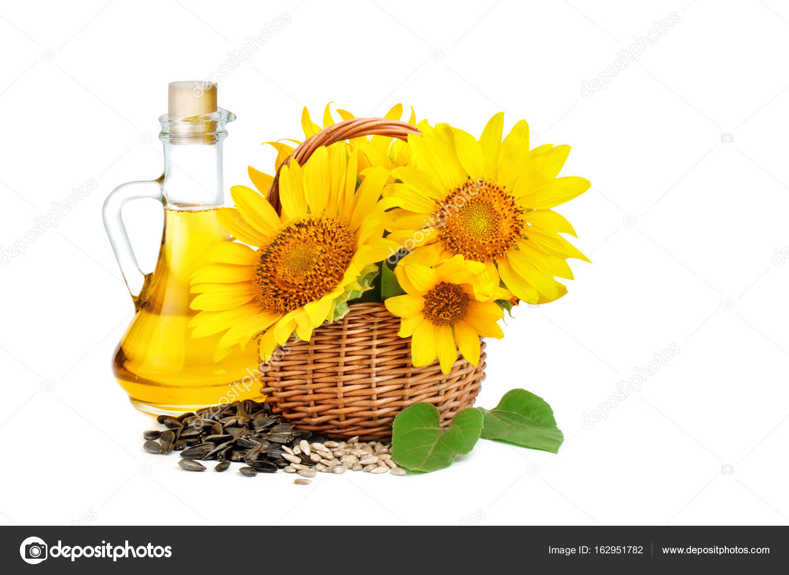 Beautiful Flowers Of Sunflowers In A Rustic Basket And Sunflower Oil On White Background An Isolated Object Photo By NyuraUsova