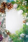 Veselé Vánoce a šťastný nový rok. Nová let pozadí s novoroční dekorace. Nová let karta