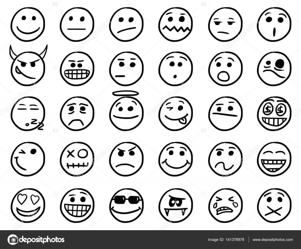 Smiley pictogrammenset tekeningen 1 in zwart wit doodles - Smiley en noir et blanc ...