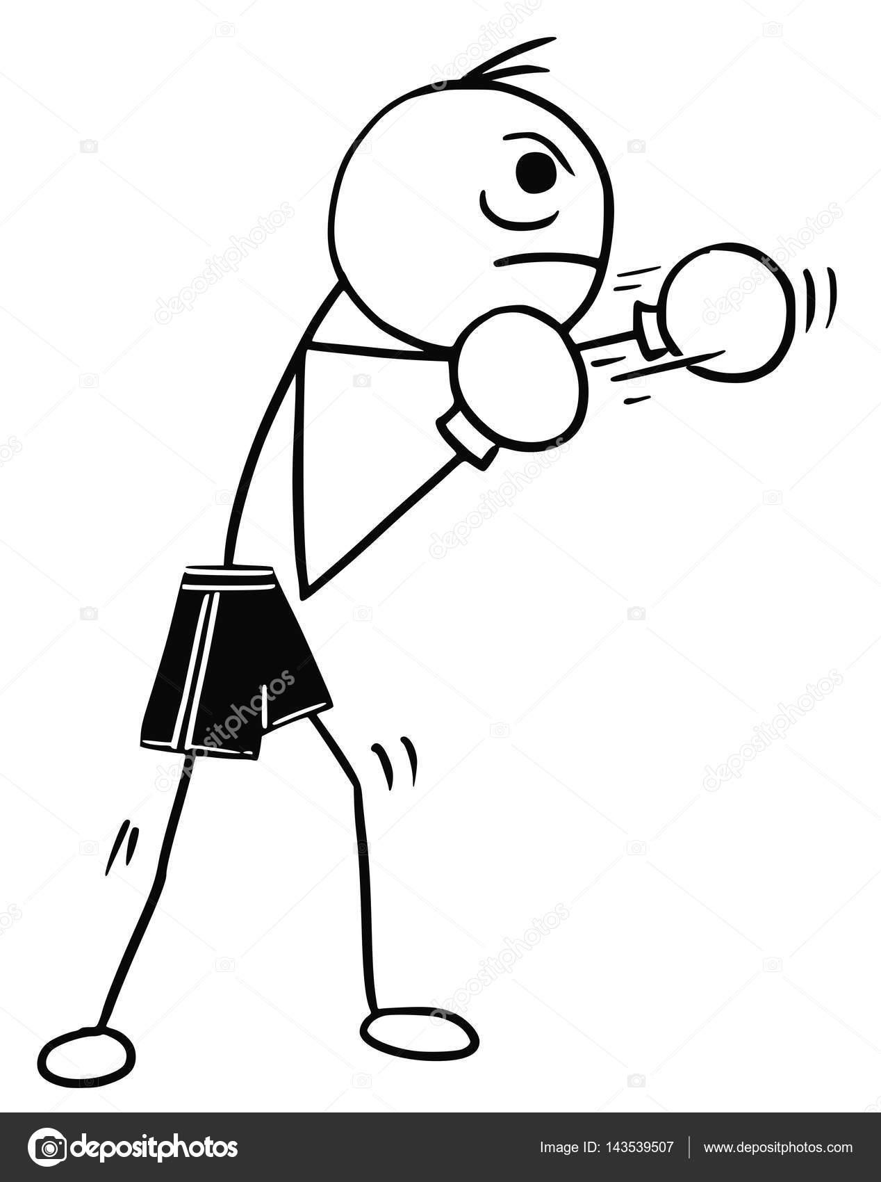 dibujos boxeo vector de dibujos animados de stickman de boxer con