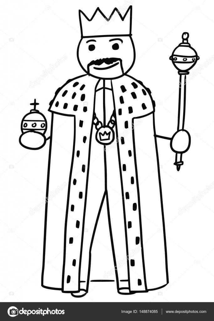 Imágenes: cetro de rey para colorear   Vector de dibujos animados ...