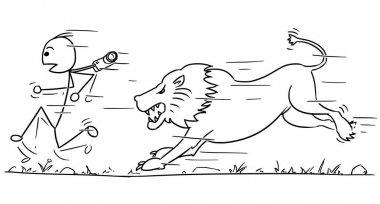 Cartoon vector stick man male tourist is running away from male lion pursuing him clip art vector