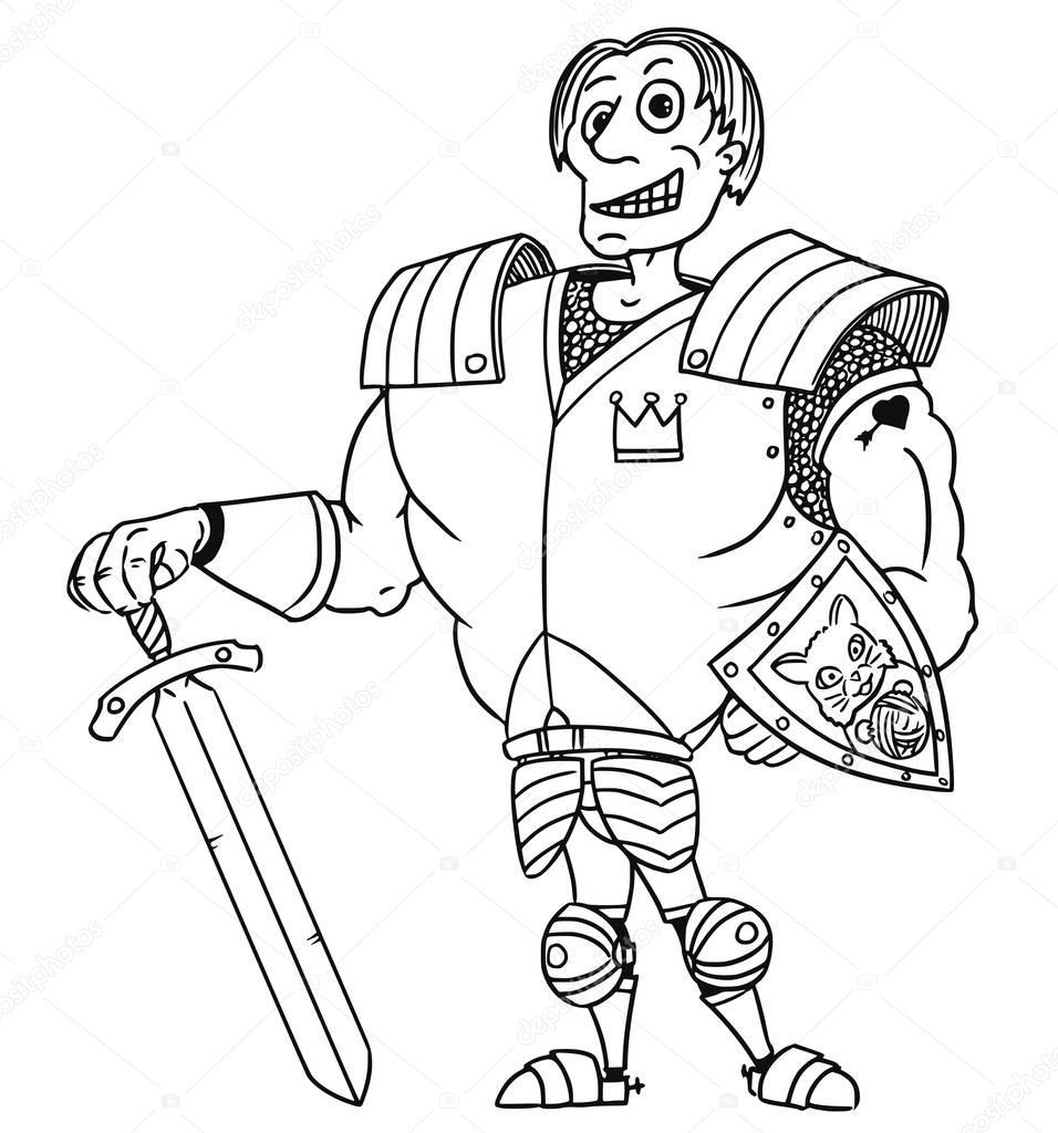 Cartoon Vector Medieval Fantasy Hero Knight Prince