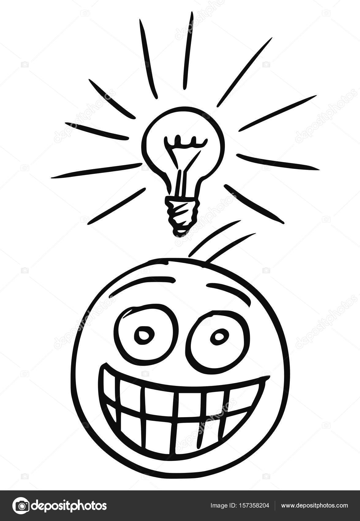 Vector Cartoon Of Man With Light Bulb Above His Head Who Got Great