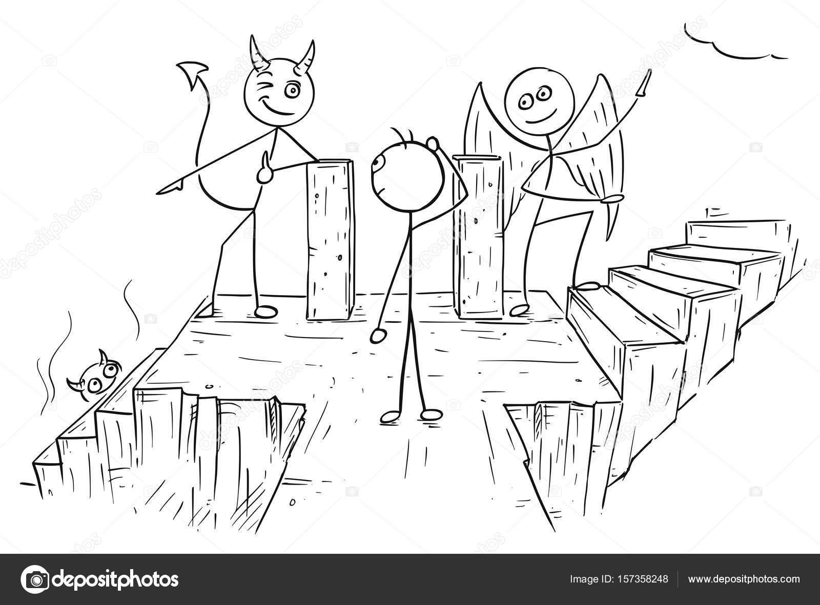 Dibujos animados de vector de Ángel y demonio que muestra dos ...