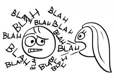 Vector Cartoon of Man Sick by Talking Woman