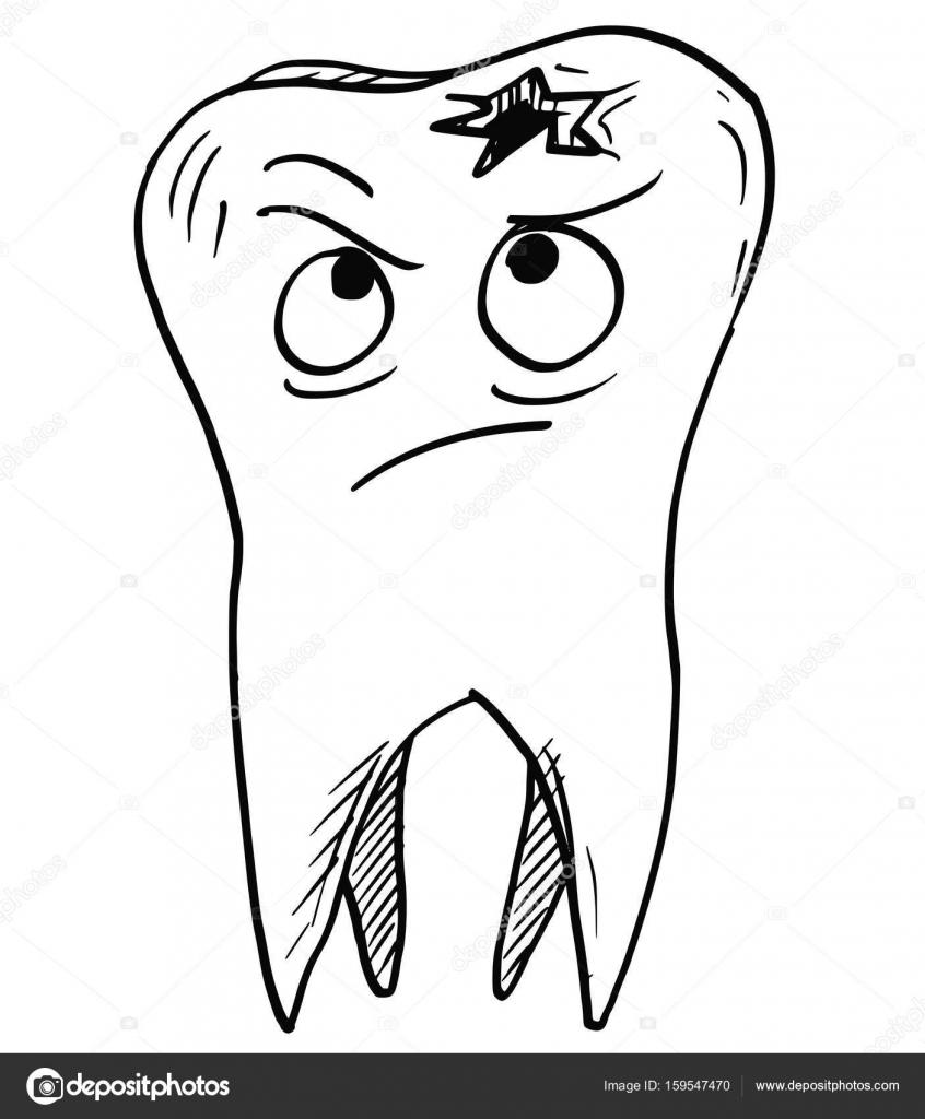 Vecteur de dessin anim de dent cari e cari e image - Dessin de dent ...