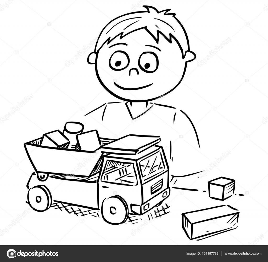 Animado Nino Jugando Con Carros Ilustracion De Dibujos Animados