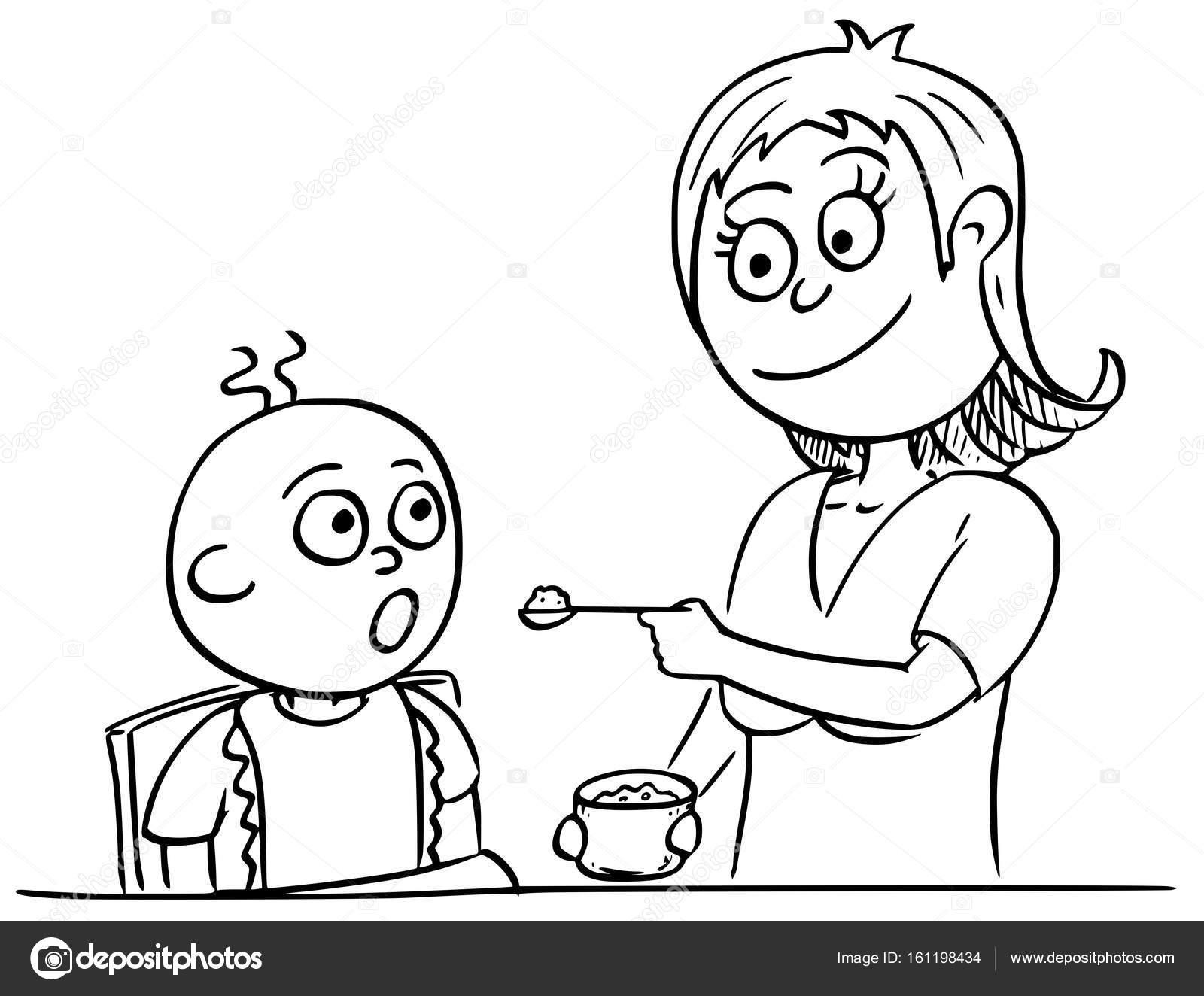 Imágenes Mama En Caricatura Para Colorear Ilustración De