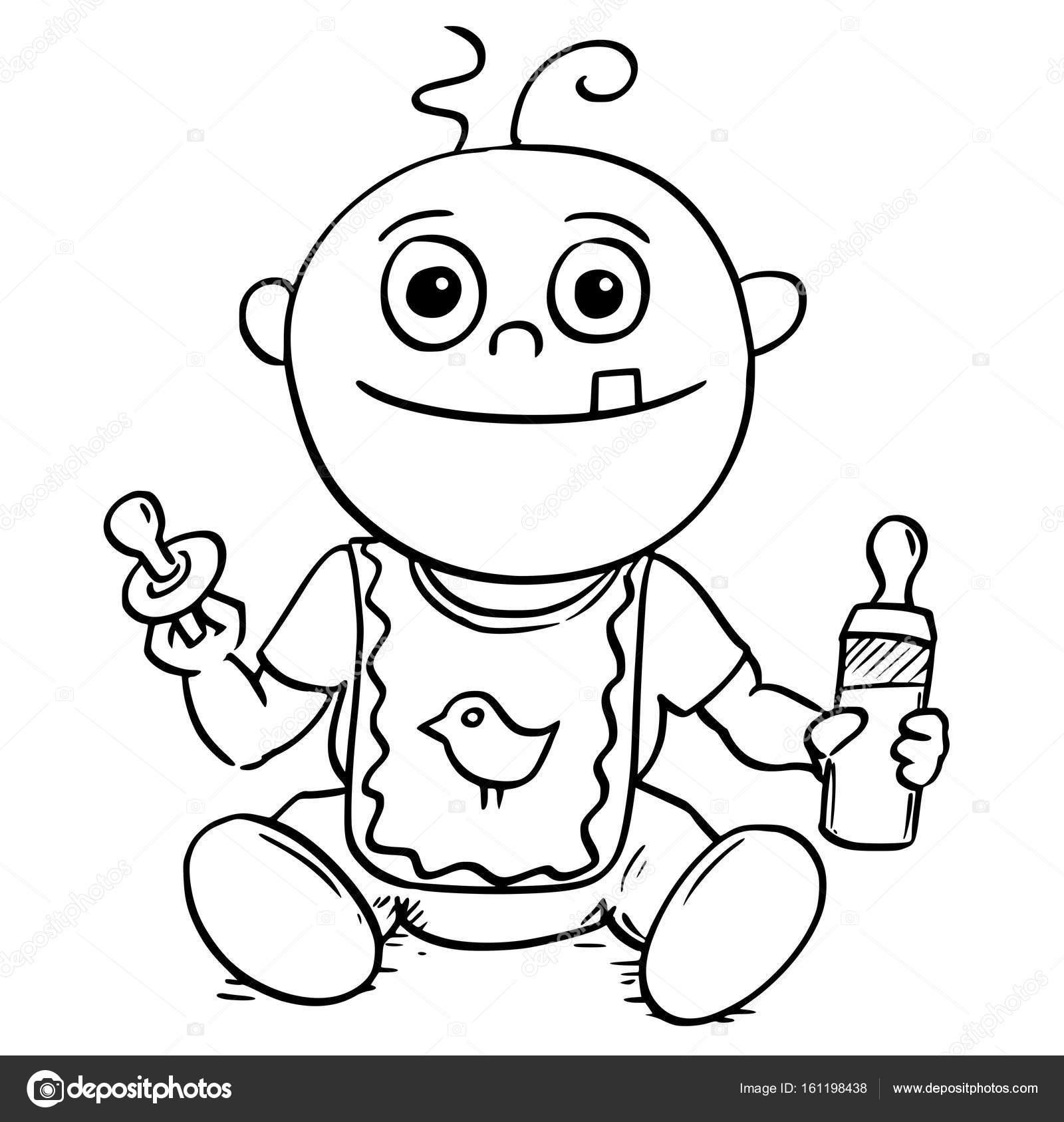 Illustration de dessin anim de b b avec t tine factice - Dessin sucette bebe ...