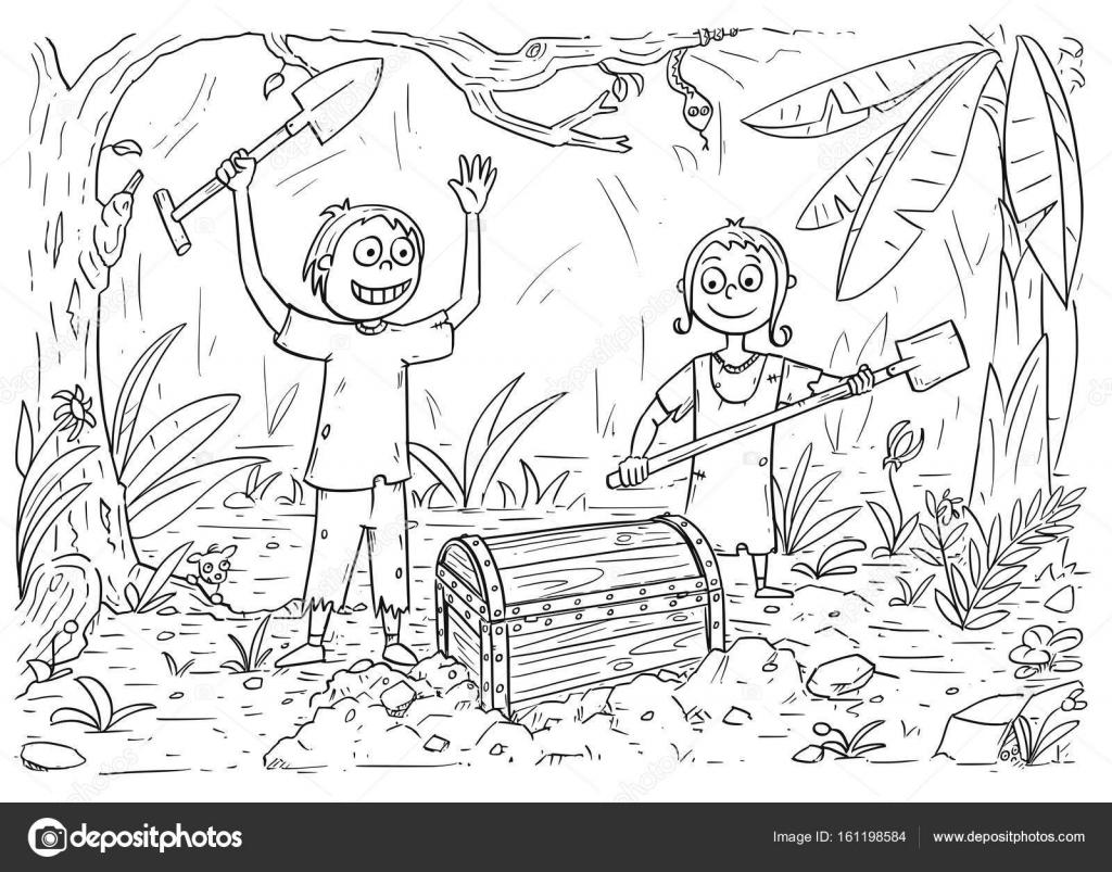 livro de colorir desenhos animados com menino e menina encontrou um