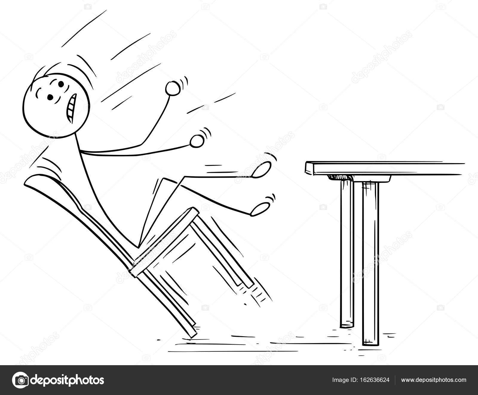tecknad bild av manen gunga och faller med stol — stock vektor
