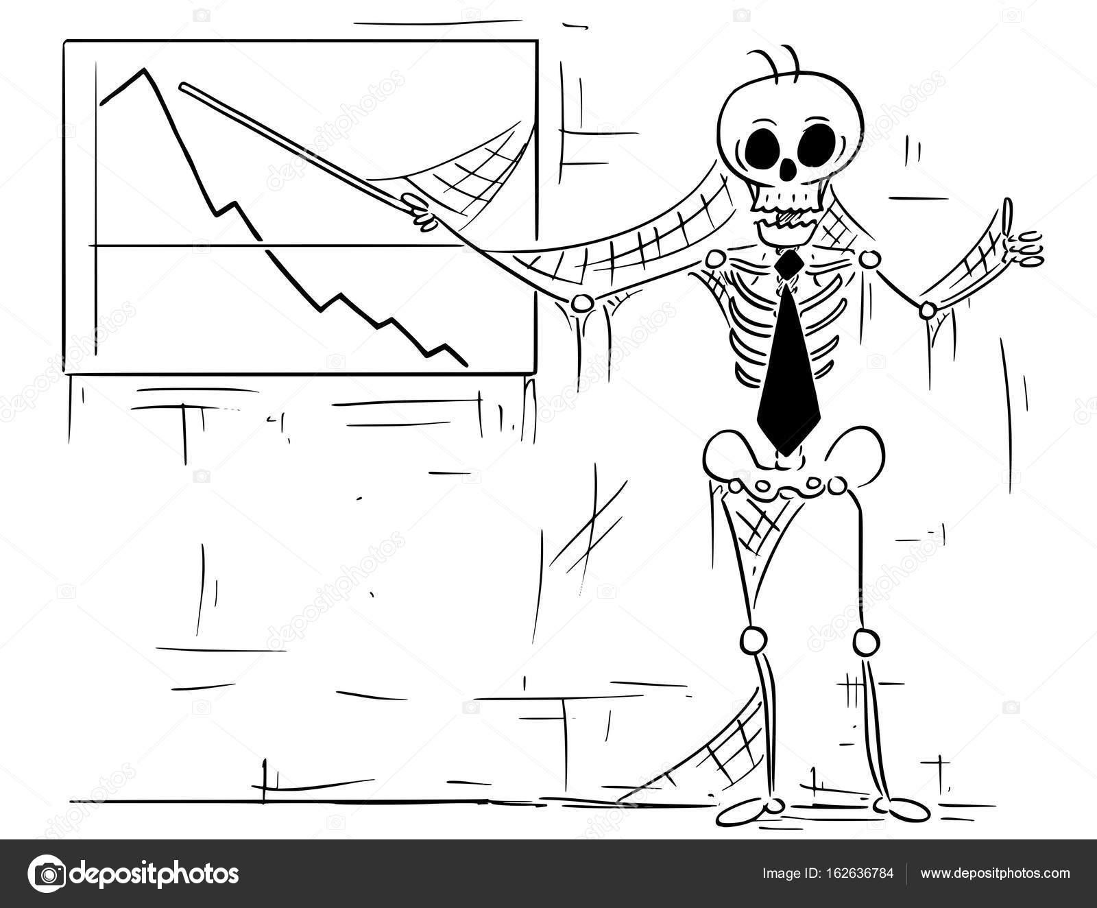 Ilustración de dibujos animados de esqueleto humano del punto de ...