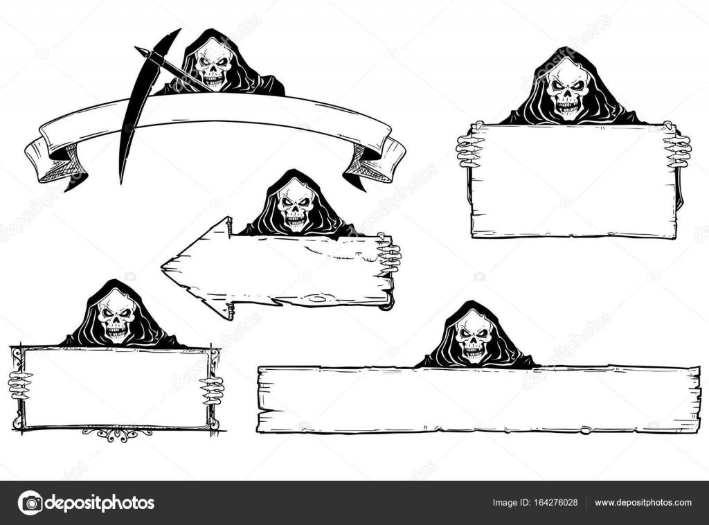 Hand tekening Set Halloween Frames met Grim Reaper — Stockvector ...