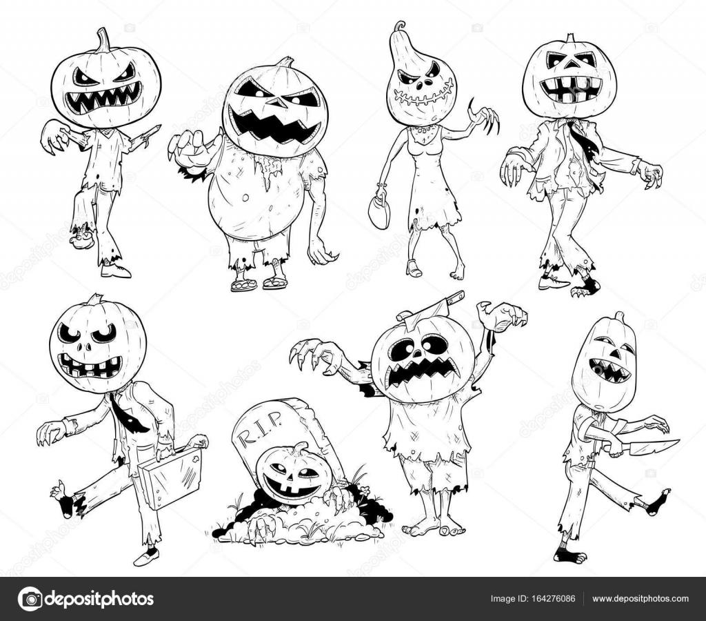 Jeu De Main Mignon Dessin Halloween Citrouille Zombie