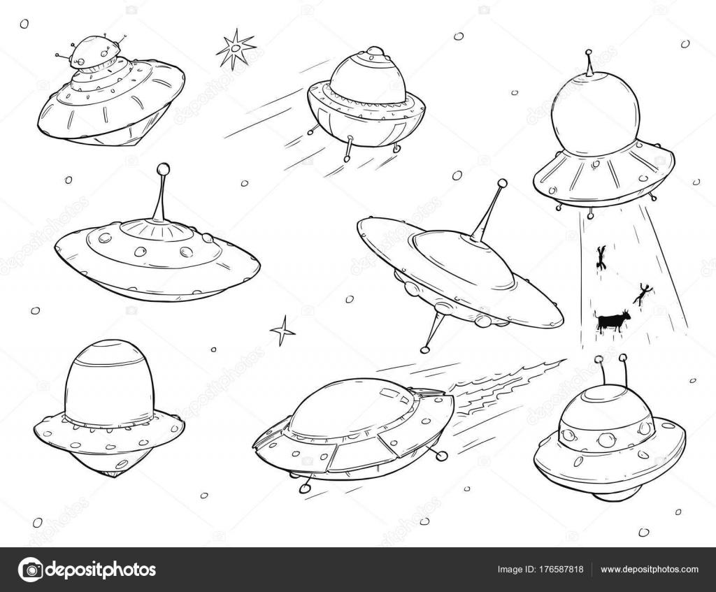 Conjunto de dibujos animados naves OVNI extraterrestre — Archivo ...