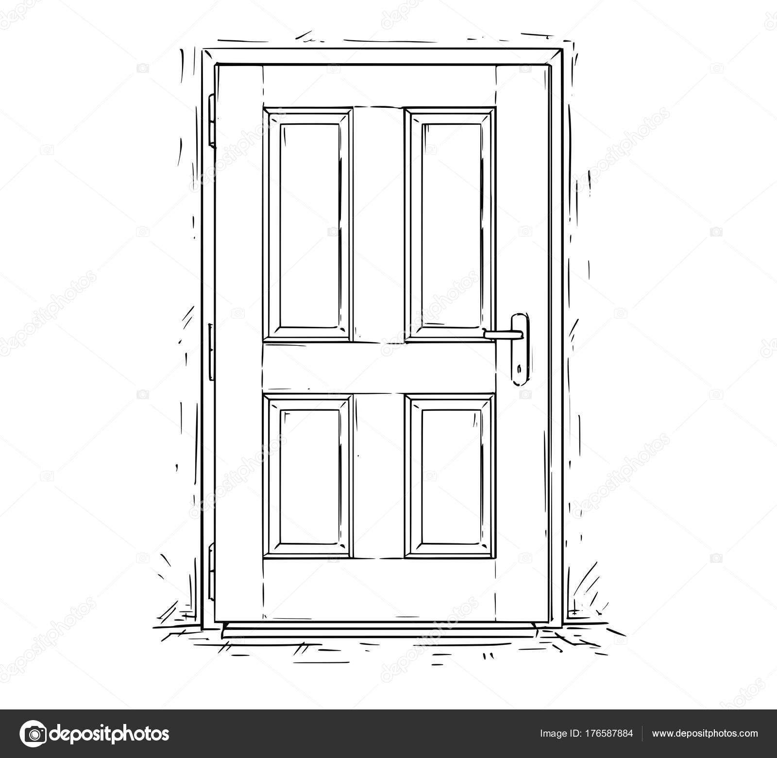 Cartoon vector doodle drawing illustration of closed wooden decision door. u2014 Vector by ursus@zdeneksasek.com  sc 1 st  Depositphotos & Cartoon Vector of Closed Wooden Decision Door u2014 Stock Vector © ursus ...