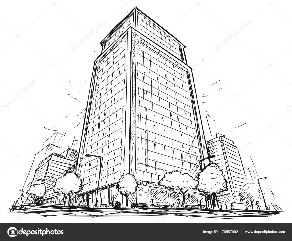 Vector De Dibujo De Ciudad Alto Edificio