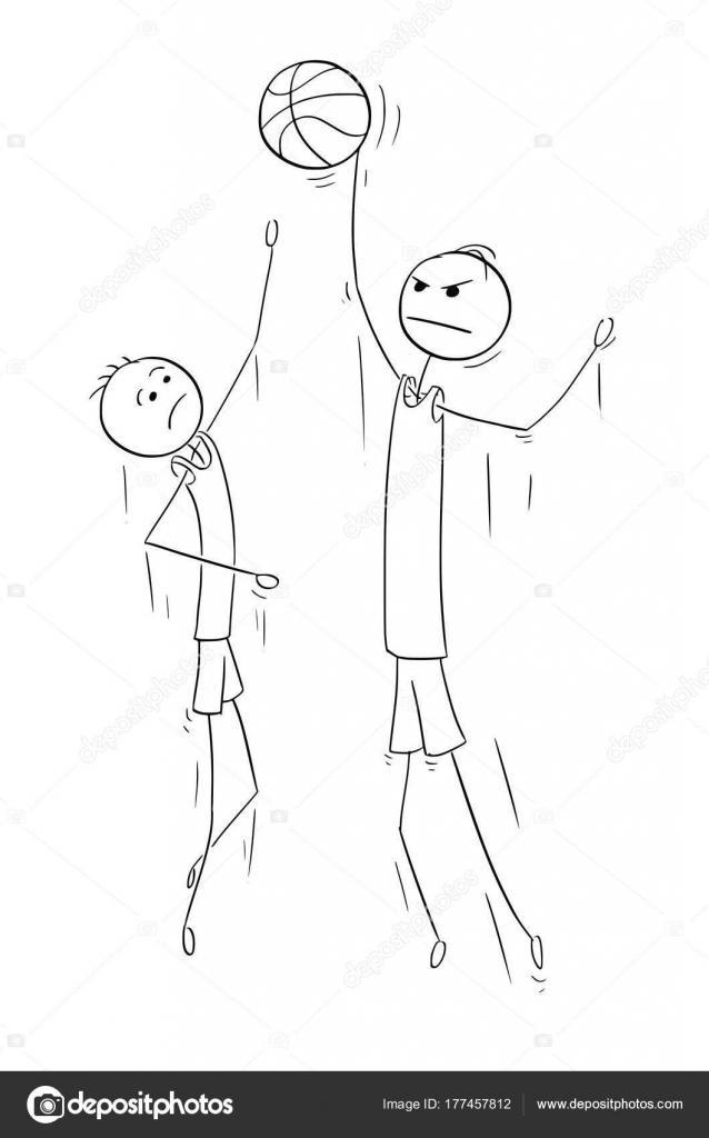 Dibujos animados de vector de dos jugadores de baloncesto alto ...