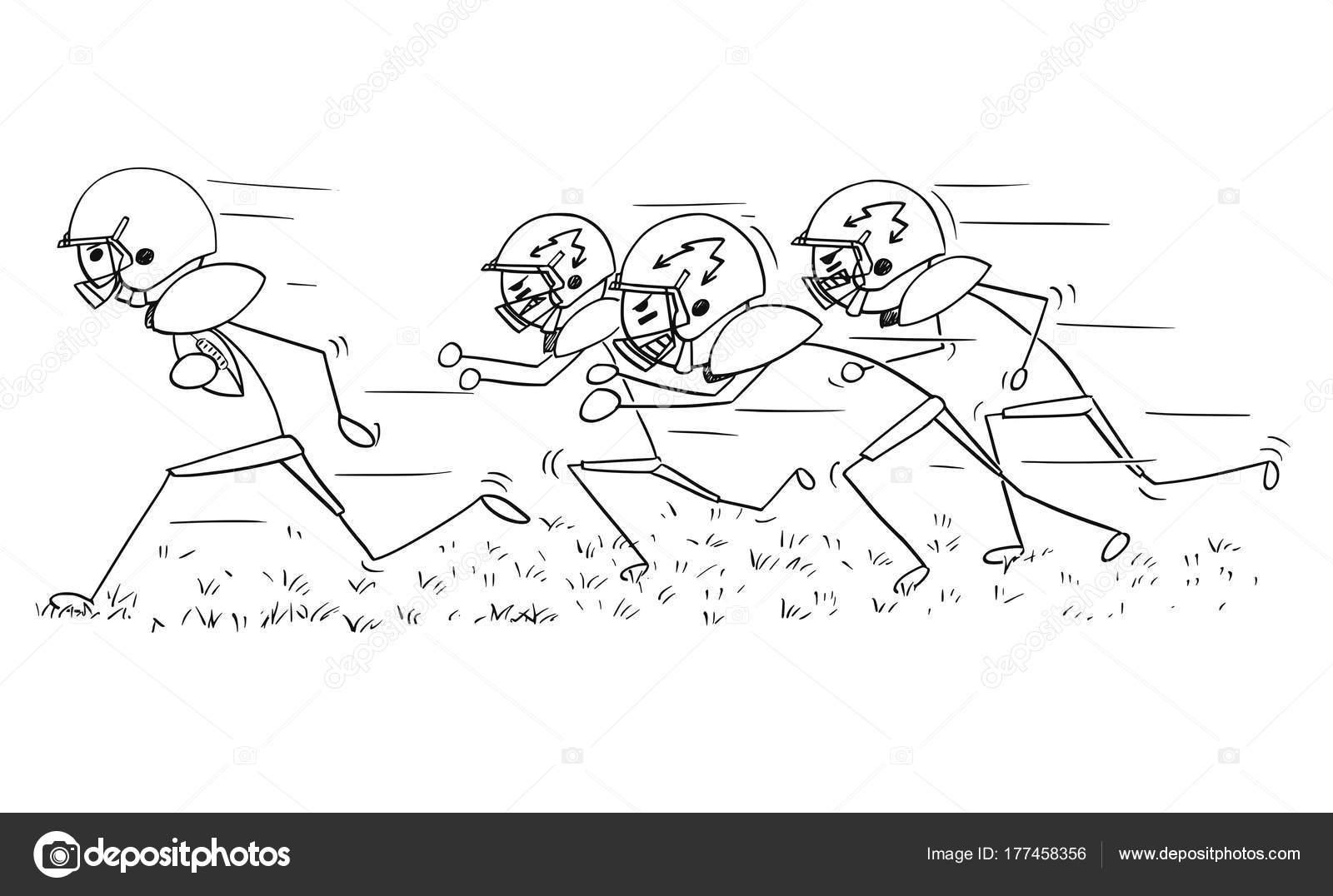 Cartoon strichmännchen zeichnen illustration des american footballspieler laufen mit ball von verteidiger verfolgt vektor von ursuszdeneksasek com