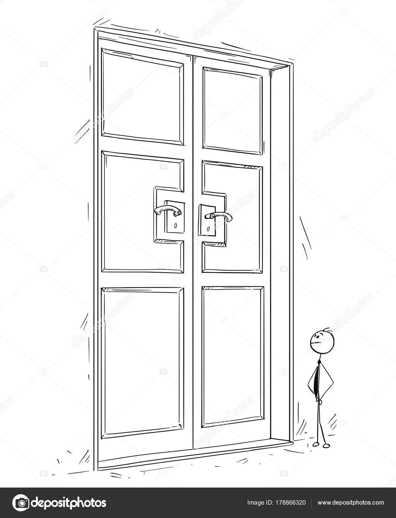 closed door drawing. Cartoon Stick Man Drawing Conceptual Illustration Of Business Standing In Front Large Closed Door. Concept Searching Problem Solution. Door R