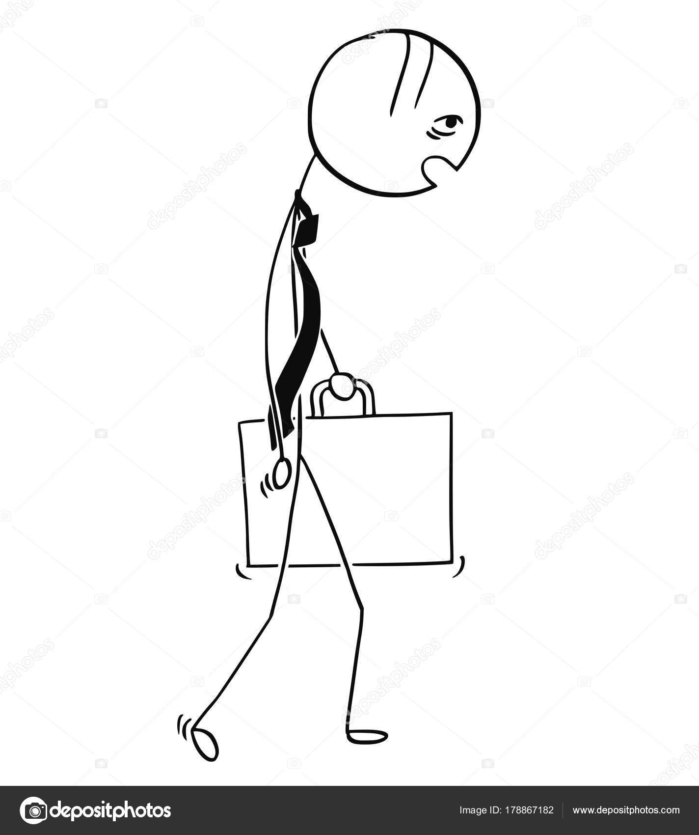 Karikatur Von Mude Und Uberarbeitet Geschaftsmann Zu Fuss