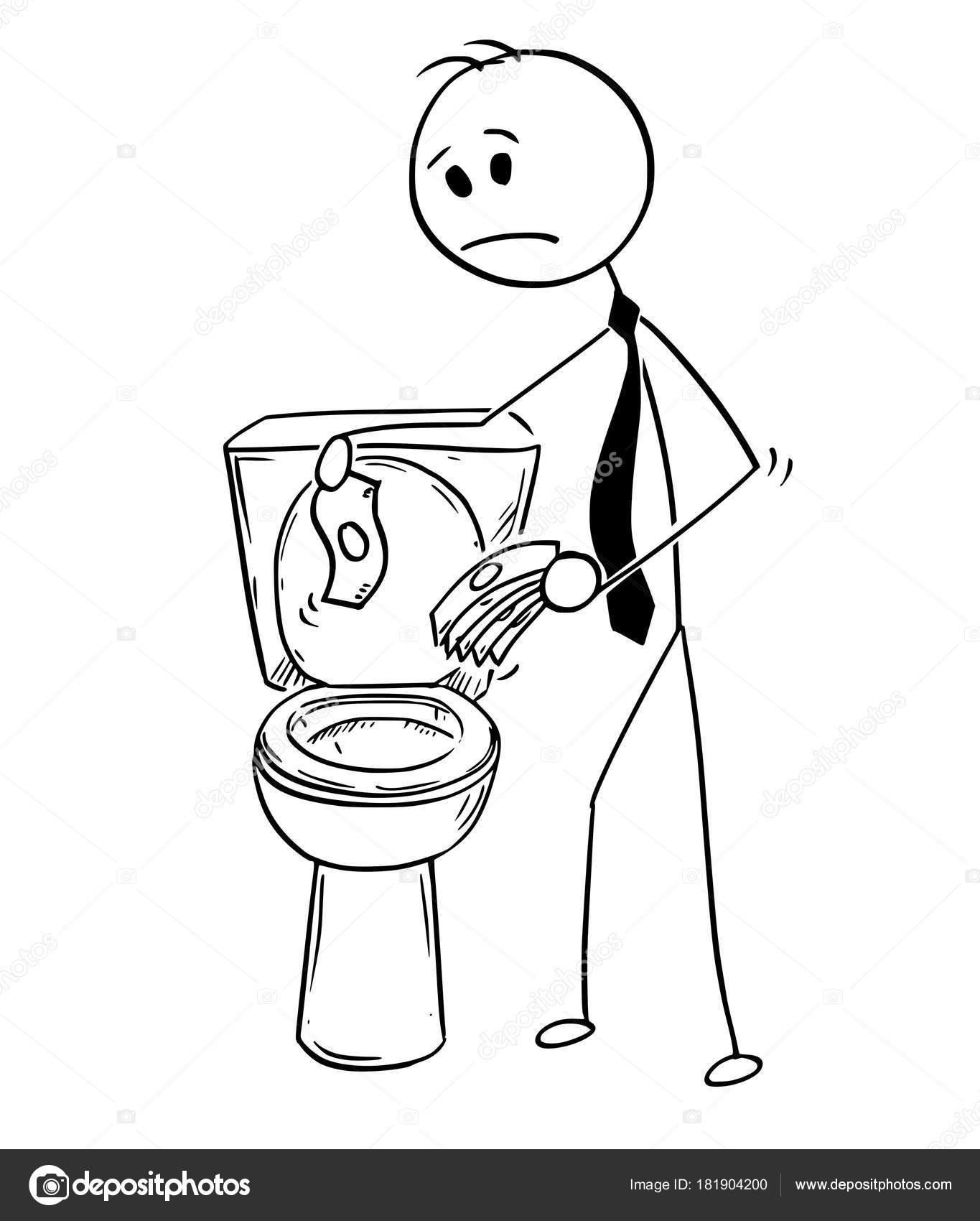 Karikatur Von Geschäftsmann Trowing Geld In Toilette Schlechte