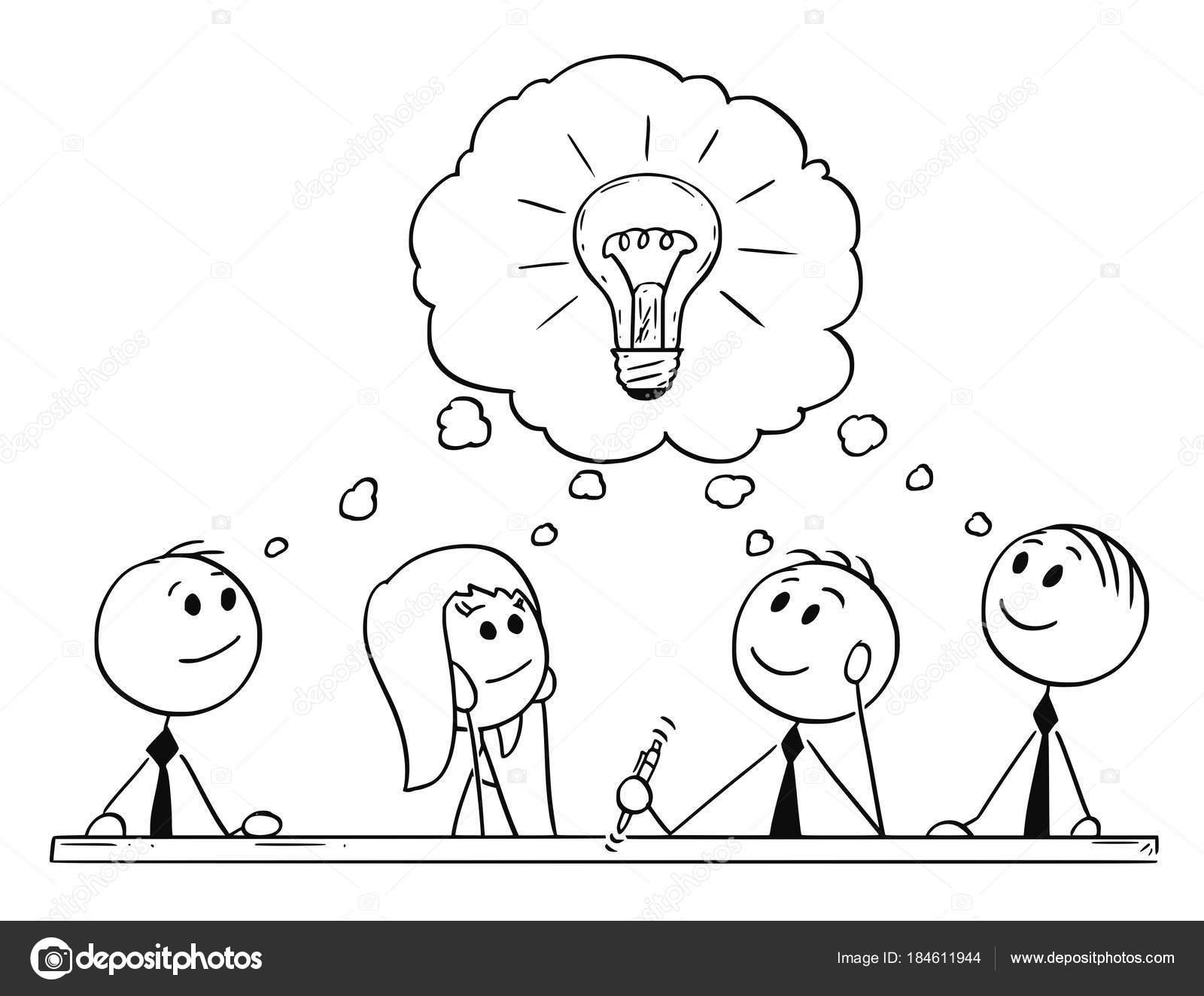 Caricatura de negocios equipo de reunión y de intercambio de ideas ...