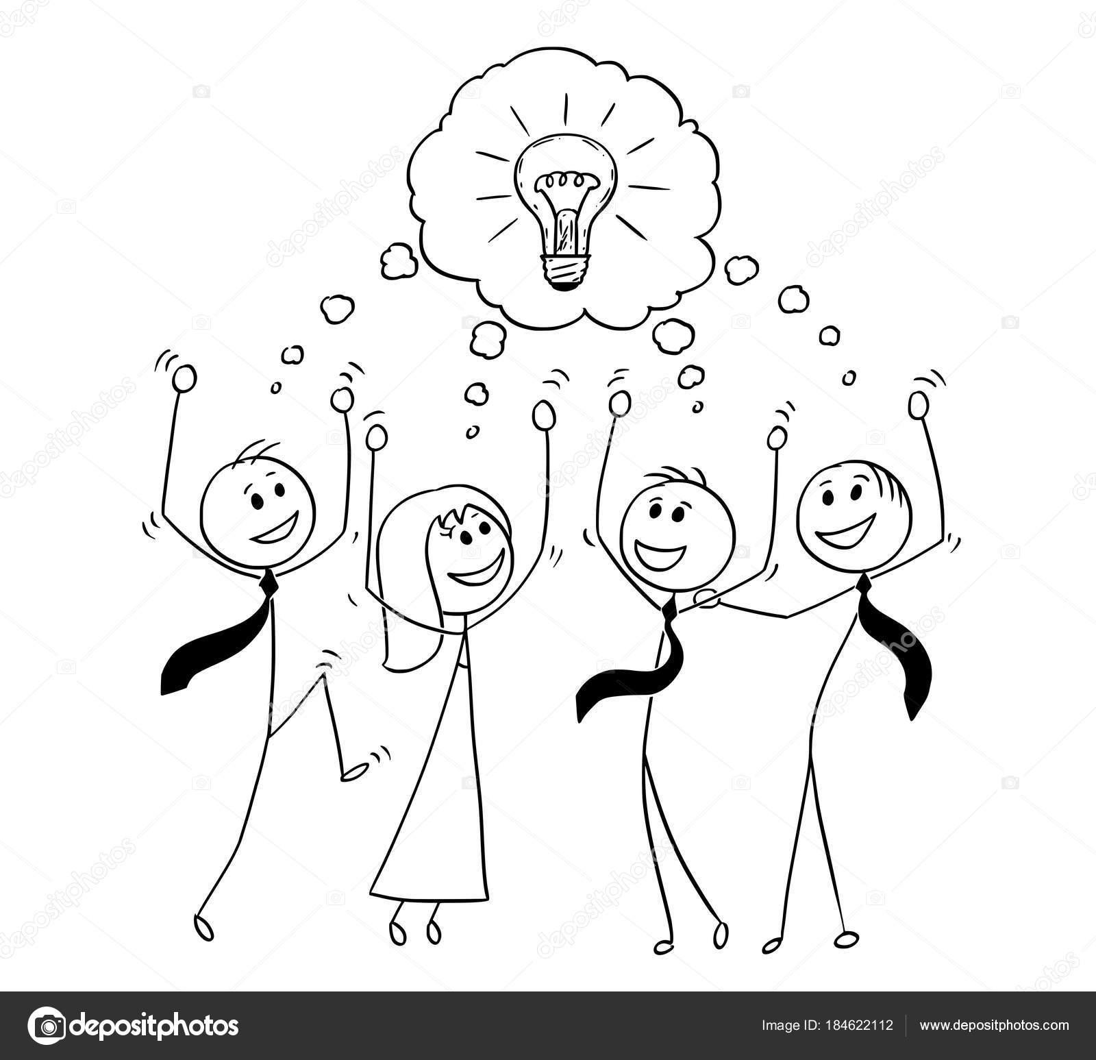 Dibujos animados de negocio equipo celebrando el éxito de ideas ...