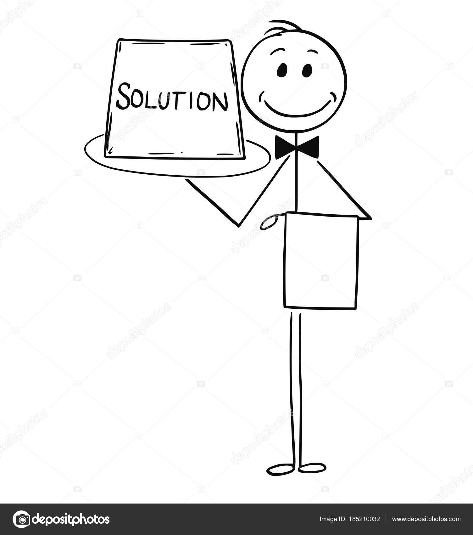 dessin anim de serveur offre un plateau avec signe solution image vectorielle ursus. Black Bedroom Furniture Sets. Home Design Ideas