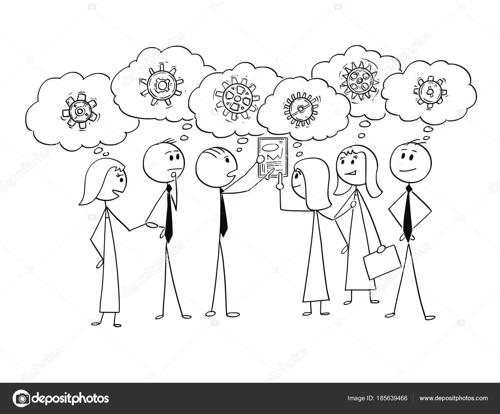 Caricatura de equipo de negocios trabajando juntos para encontrar la ...