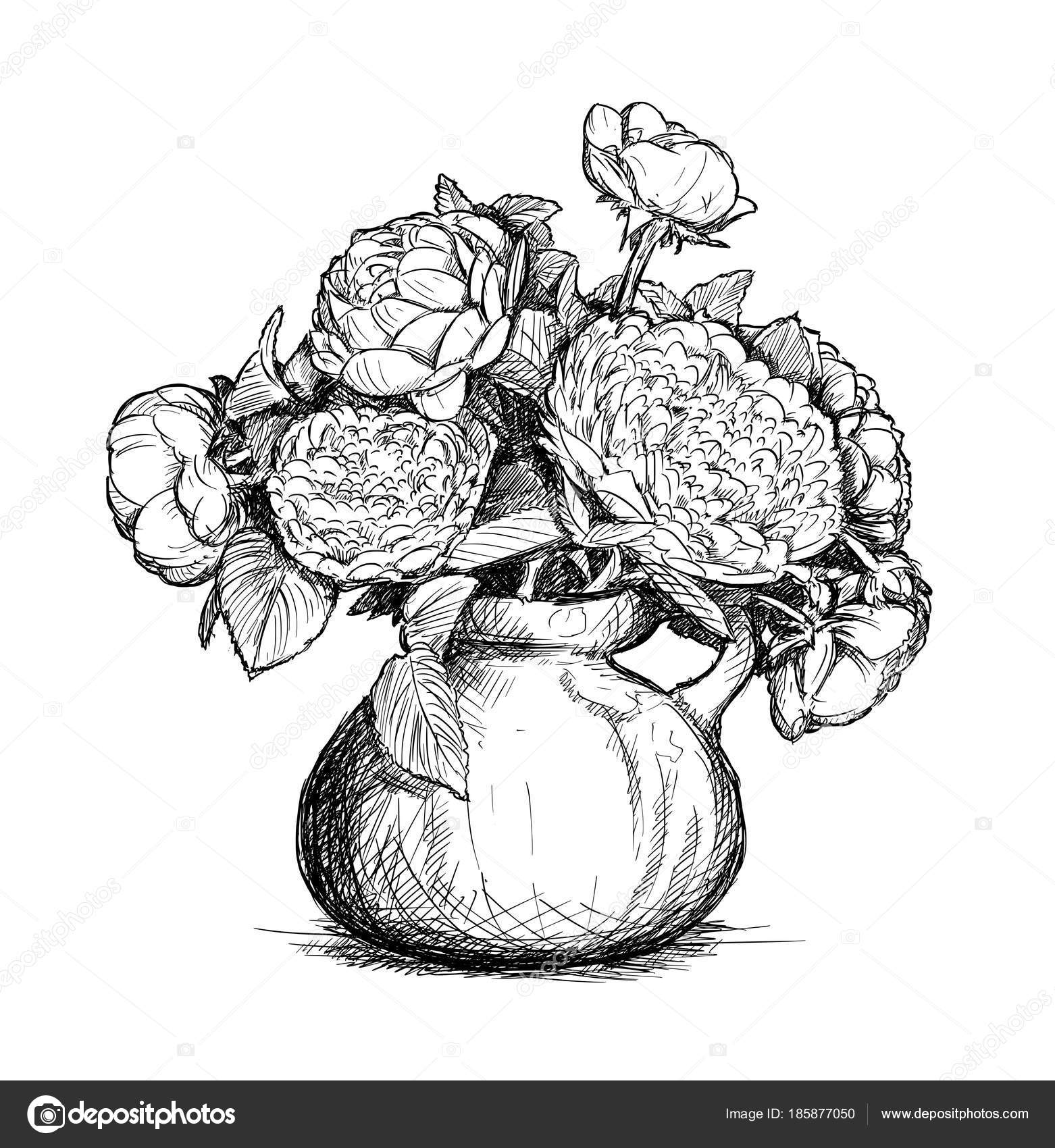 Vector Hand Drawing of Rose and Peony Flower Bouquet in Vase — Stock ...
