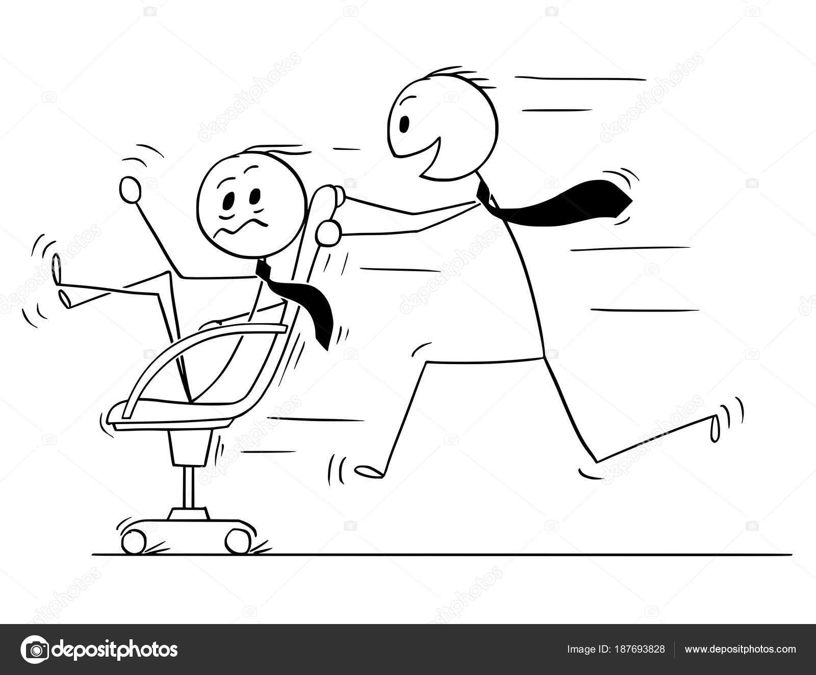 Bürostuhl comic  Cartoon of Businessman Riding on Chair Enjoying Fun in Office ...
