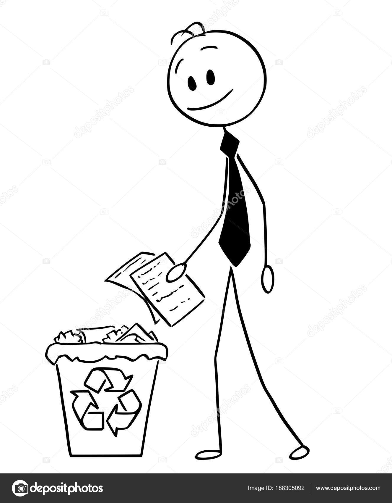 Cartoon of Businessman Throwing Paper in Recycle Trash Bin — Stock ...