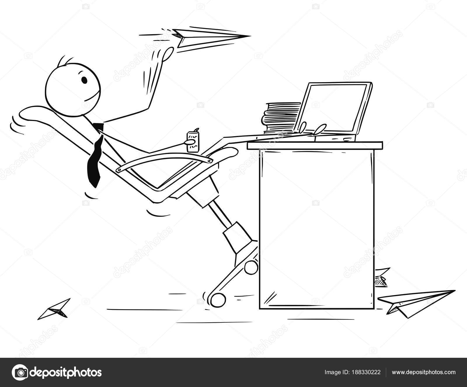 Cartoon Of Bored Businessman Throwing Paper Airplanes Stock