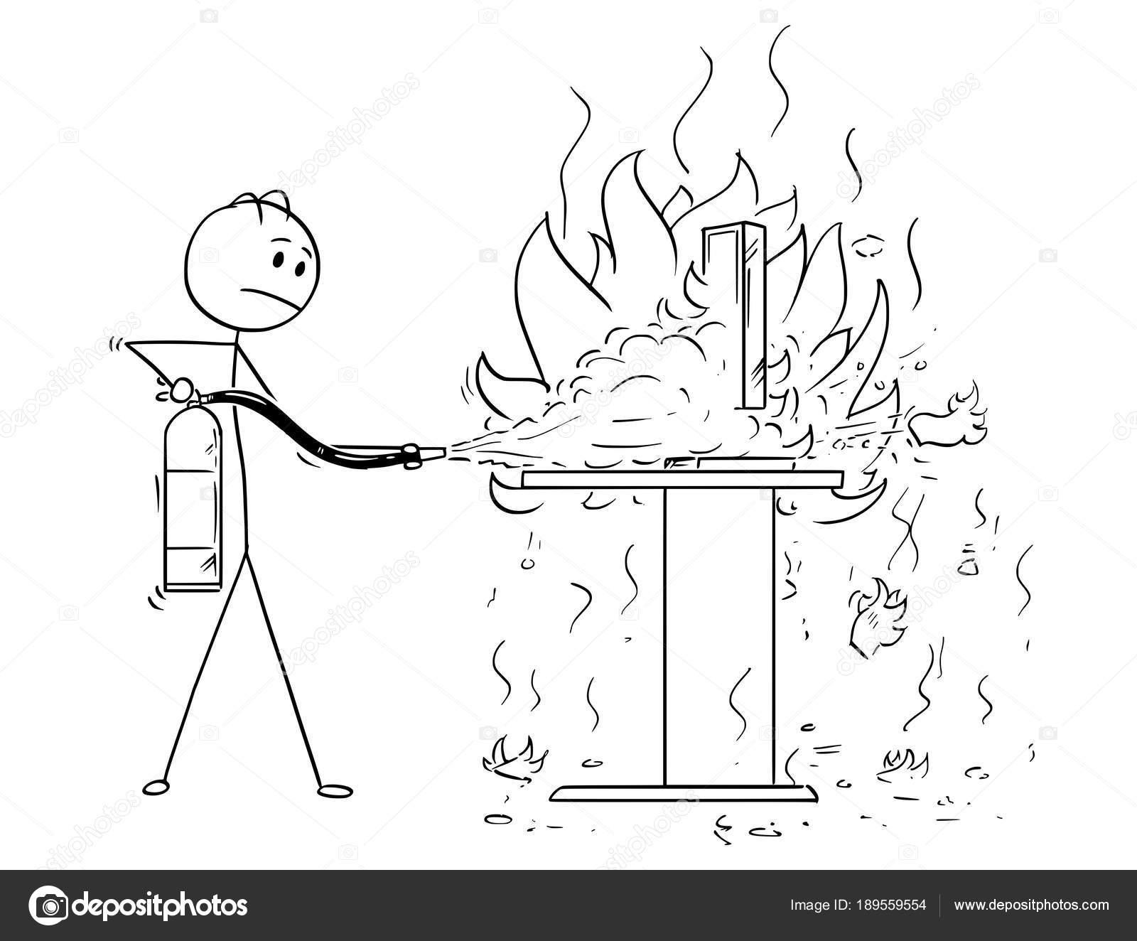 Dibujos animados de empresario que lucha contra el fuego en ...